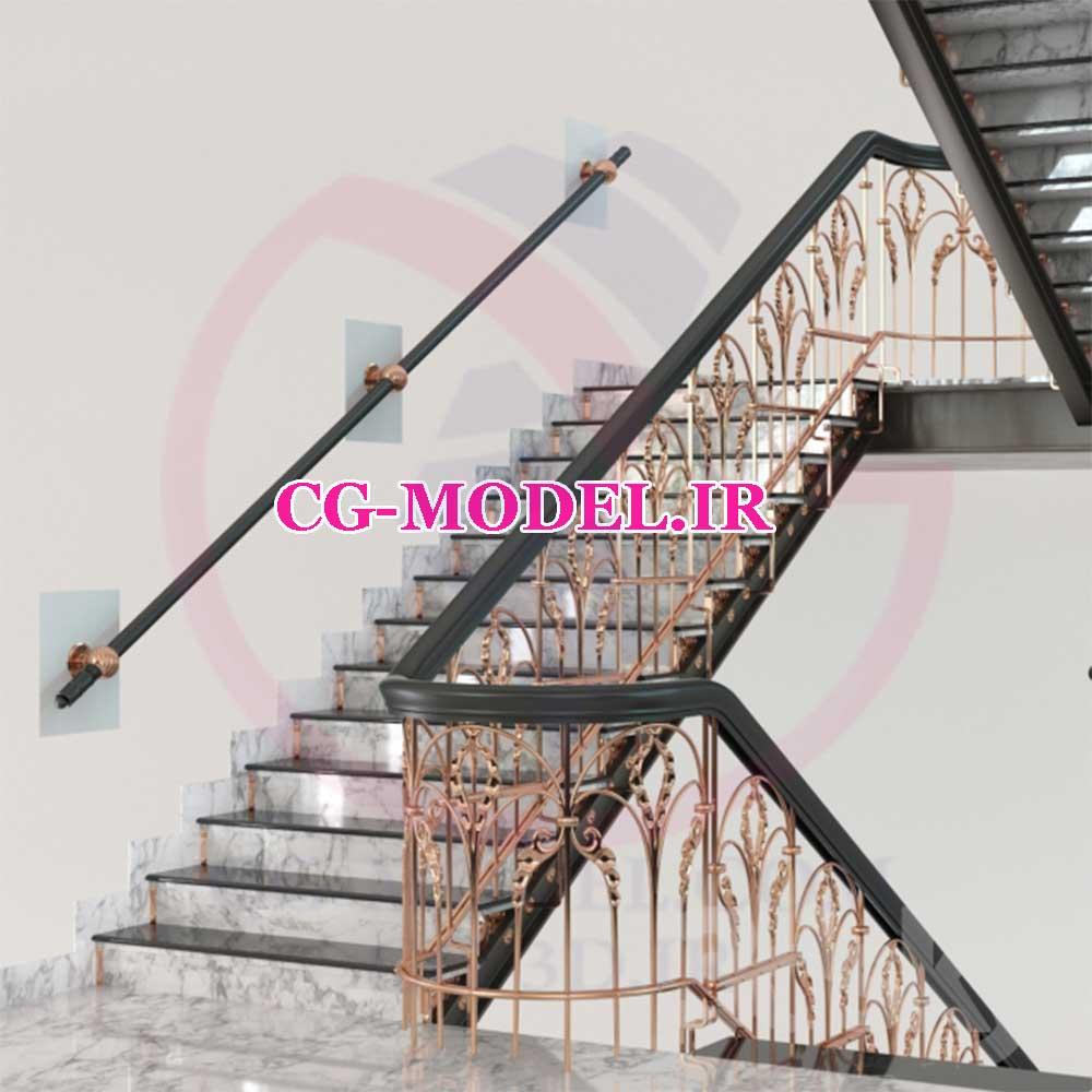 مدل سه بعدی پله و نرده کلاسیک