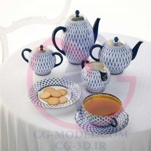 مدل سه بعدی ظروف چایی خوری