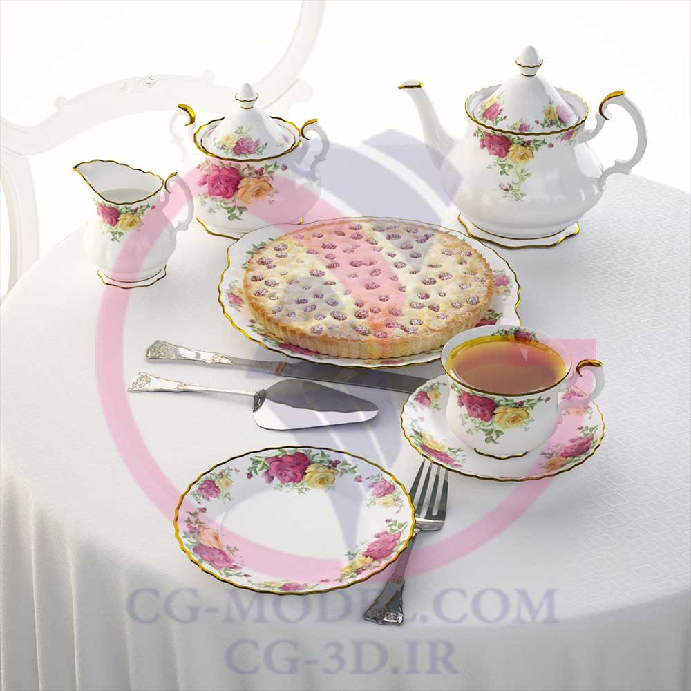 دانلود مدل سه بعدی شیرینی و چایی