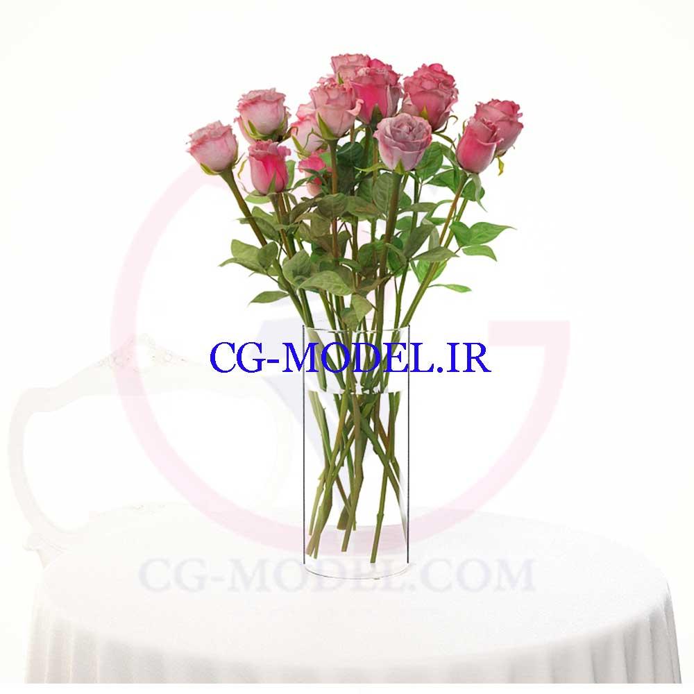 دانلود مدل سه بعدی گلدان گل رز