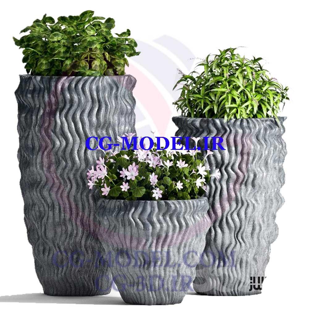 دانلود مدل سه بعدی ست گلدان گیاه