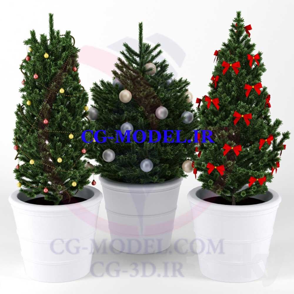 3 عدد مدل سه بعدی درخت کریسمس