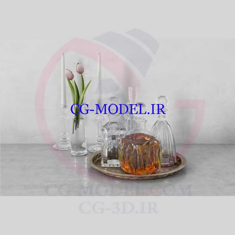 مدل سه بعدی شمع و گل و ظروف
