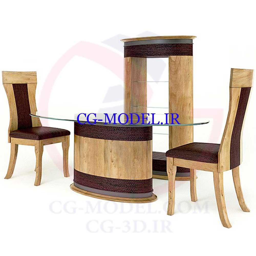 مدل سه بعدی ست میزو صندلی و ویترین