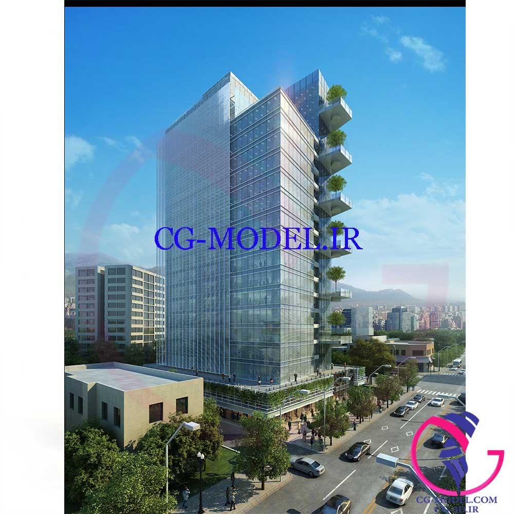 مدل سه بعدی صحنه خارجی ساختمان crystal cg 24