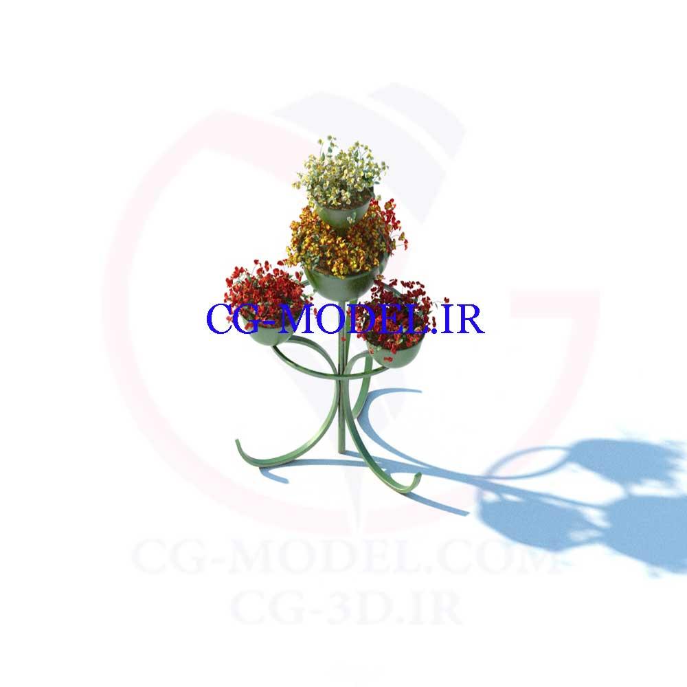 مدل سه بعدی گل و جاگلدانی