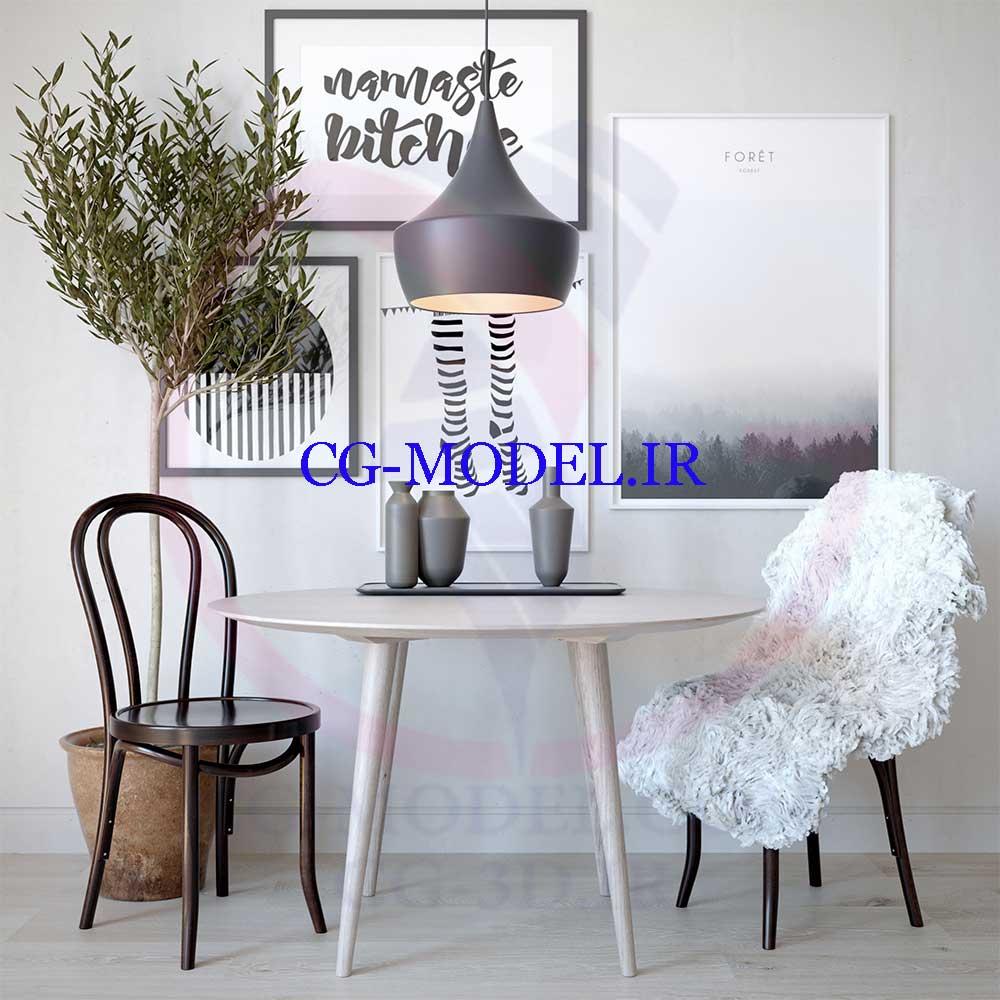 مدل سه بعدی میز و صندلی و لوازم تزئینی