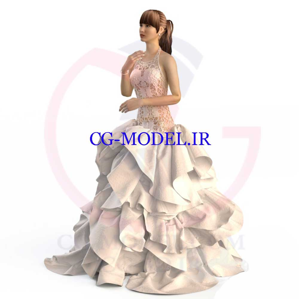 مدل سه بعدی لباس عروس