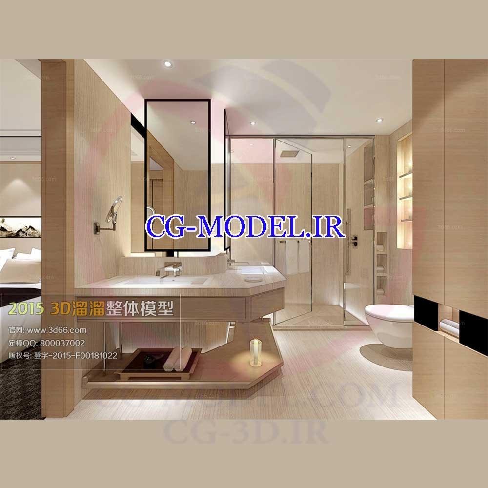 مدل سه بعدی حمام و اتاق خواب