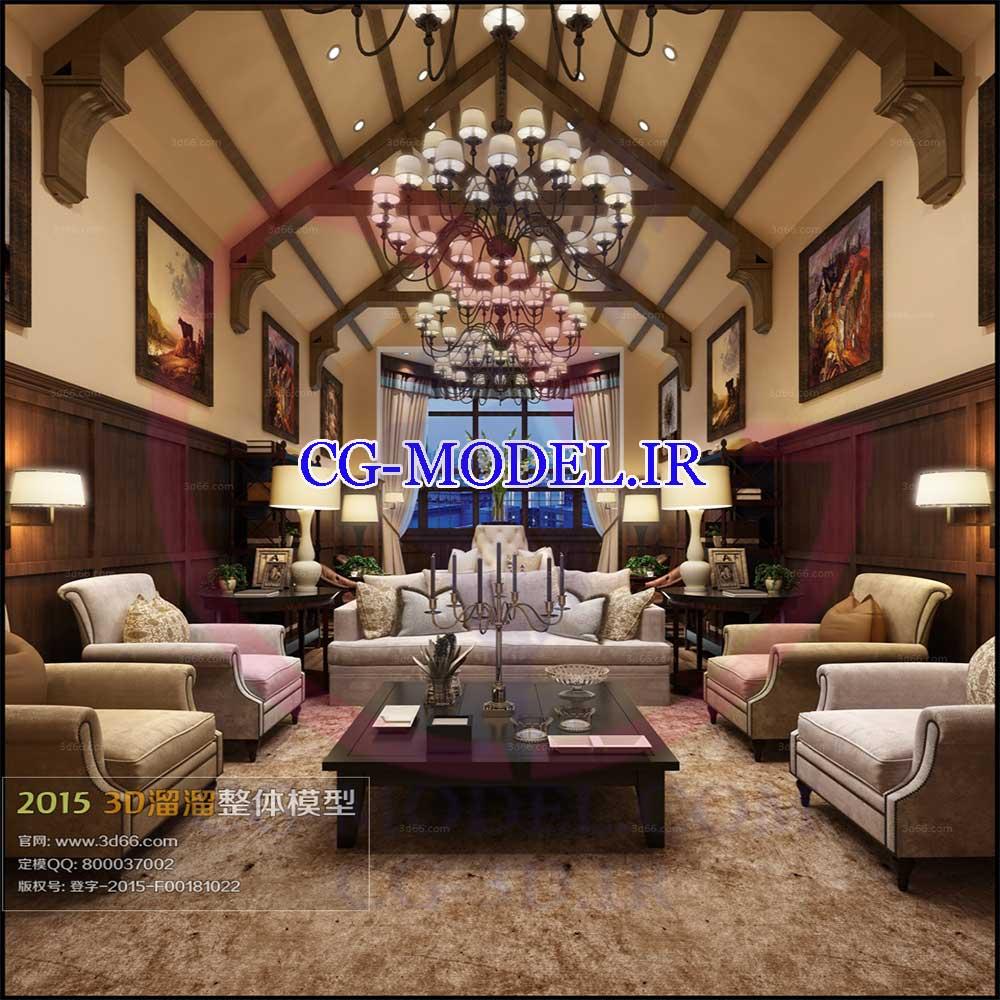 مدل سه بعدی صحنه داخلی اتاق نشیمن