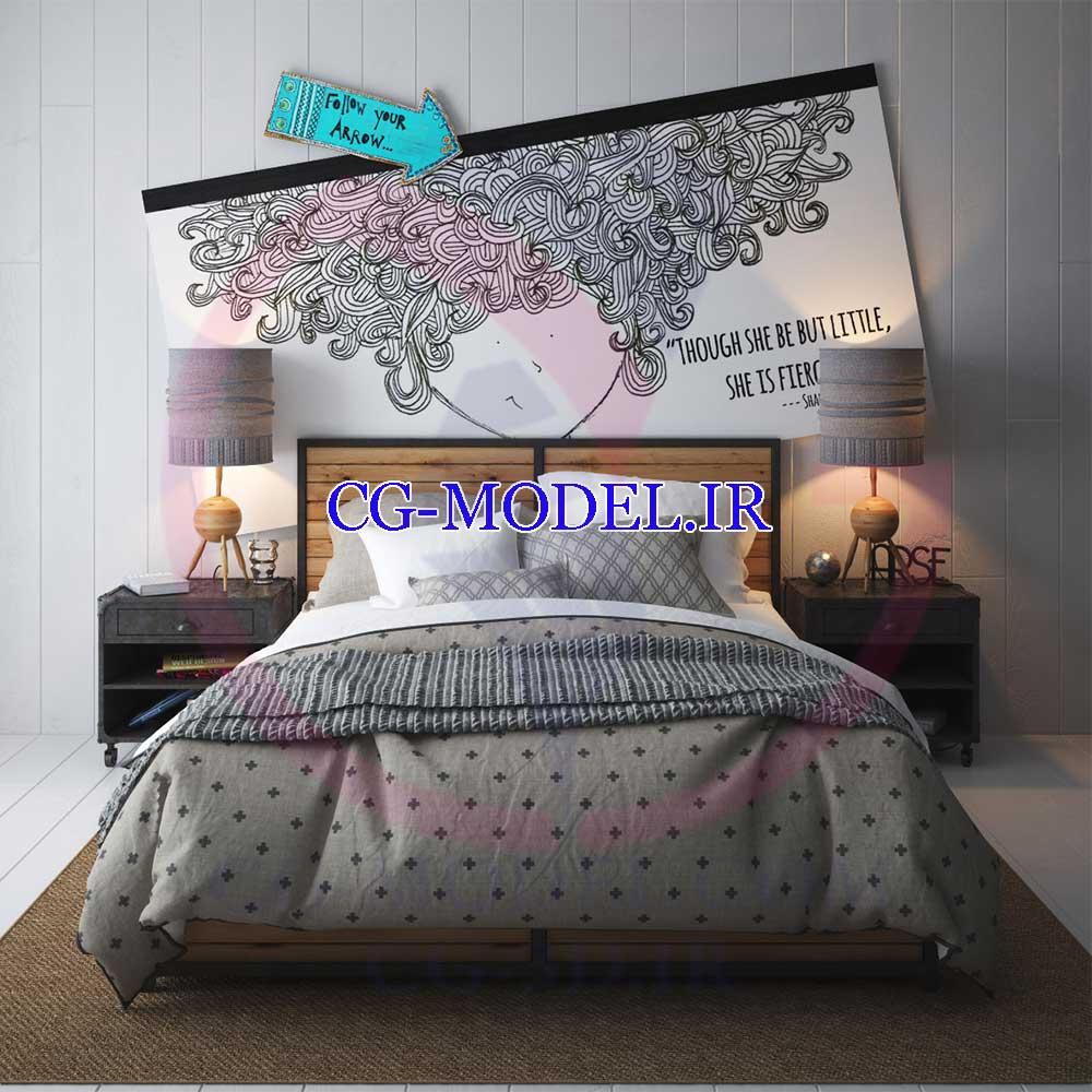 مدل سه بعدی تخت خواب و چراغ خواب