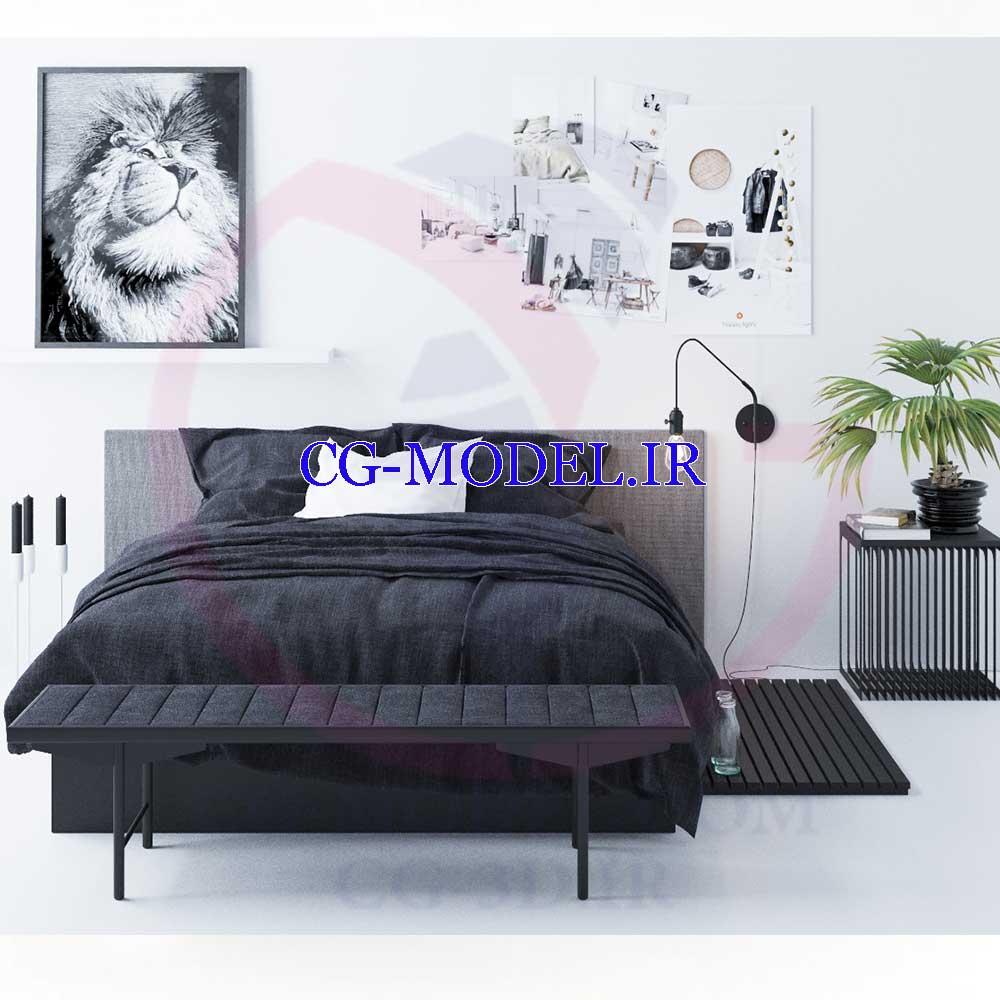 مدل سه بعدی تخت خواب برای موتور رندرCorona