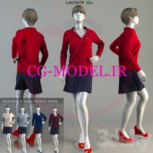 مدل سه بعدی مانکن زنانه همراه لباس