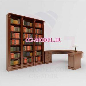 مدل سه بعدی کتابخانه و میز