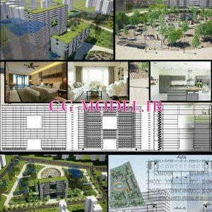پروژه مجتمع مسکونی اتوکد و رویت دو بعدی وسه بعدی