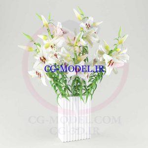 مدل سه بعدی گلدان گل نیلوفر سفید