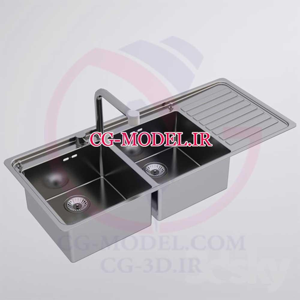 مدل سه بعدی  سینک ظرفشویی 2