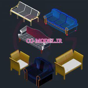 فایل اتوکد مبل و صندلی سه بعدی