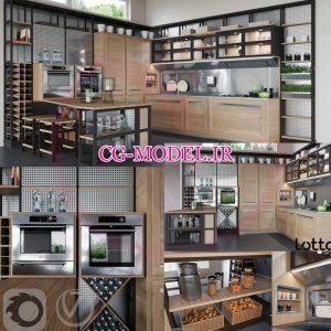 مدل سه بعدی آشپزخانه مدرن
