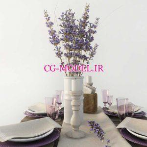 مدل سه بعدی ظروف غذاخوری و گلدان گل