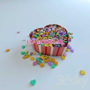مدل سه بعدی ظرف شکلات طرح قلب