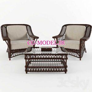 مدل سه بعدی میز و صندلی حصیری