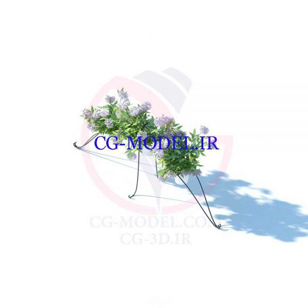 مدل سه بعدی گلدان گل با استند (1)