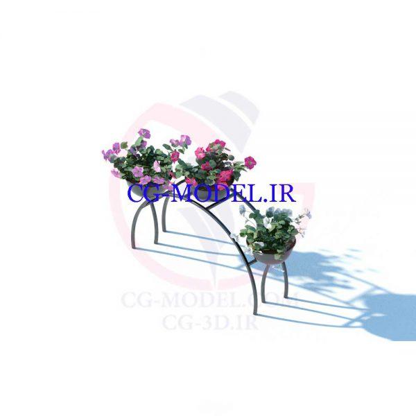مدل سه بعدی گلدان گل با استند (2)