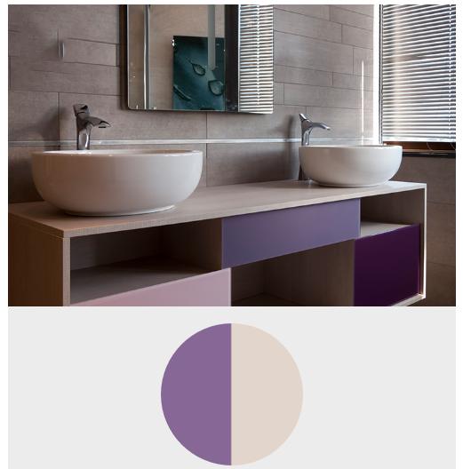 ترکیب رنگ بنفش تیره با سرامیک و سنگ در معماری و دکوراسیون داخلی منزل