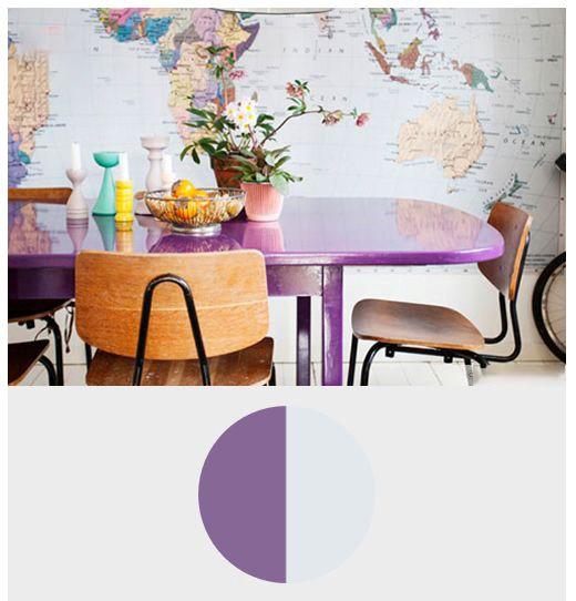 ترکیب رنگ بنفش ارغوانی با رنگ خاکستری روشن در معماری و دکوراسیون داخلی منزل