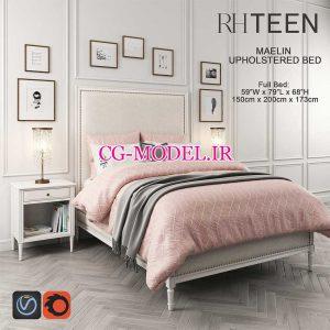 مدل سه بعدی تخت خواب و لوازم جانبی