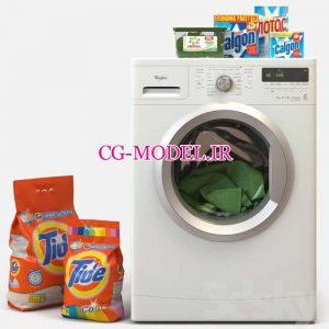 مدل سه بعدی ماشین لباسشویی و مواد شوینده