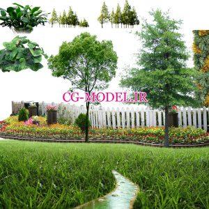 دانلود PNG درخت و بوته و گل و برکه آب
