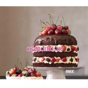 مدل سه بعدی کیک و میوه