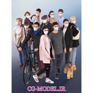 مجموعه مدل سه بعدی انسان با ماسک