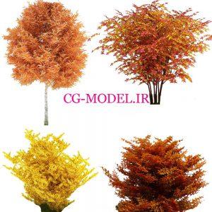 4 عدد PNG درخت و بوته پائیزی