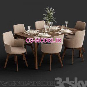 مدل سه بعدی میز و صندلی غذا خوری