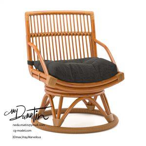 مدل سه بعدی صندلی چوبی