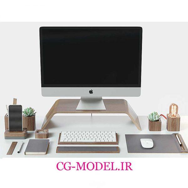 مدل سه بعدی کامپیوتر و لوازم رومیزی