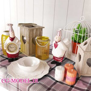 مدل سه بعدی ظروف و لوازم دکوری آشپزخانه (8)