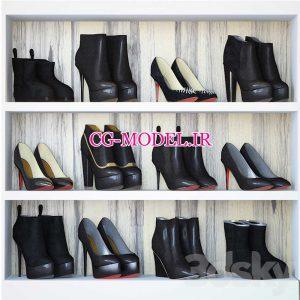 مدل سه بعدی انواع کفش زنانه
