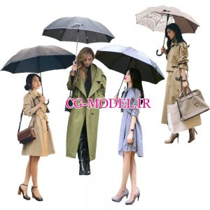 دانلود 4 عدد پرسوناژ خانم همراه با چتر