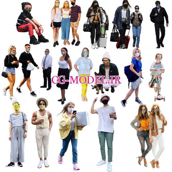مجموعه پرسوناژ انسان همراه با ماسک