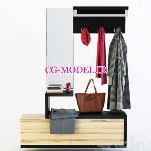مدل سه بعدی جالباسی و پوشاک