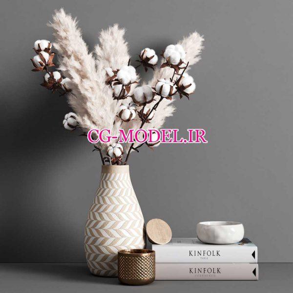 مدل سه بعدی گل پنبه و گیاه Pampas و لوازم دکوری