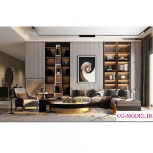 مدل سه بعدی صحنه داخلی اتاق نشیمن (5)
