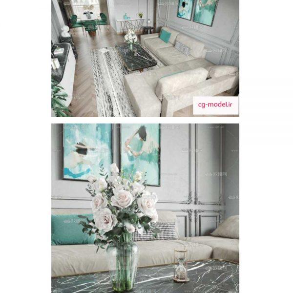 مدل سه بعدی صحنه داخلی اتاق نشیمن (6)