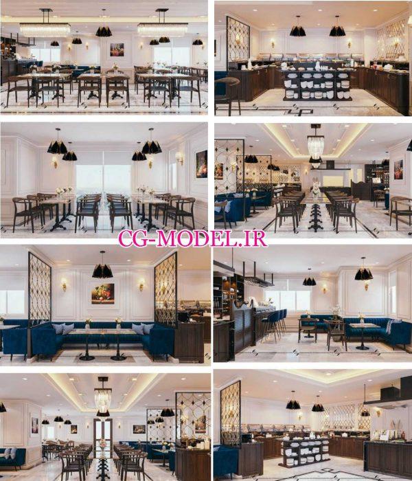 مدل سه بعدی صحنه داخلی رستوران