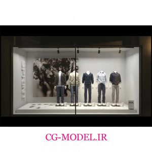 مدل سه بعدی ویترین مغازه پوشاک مردانه
