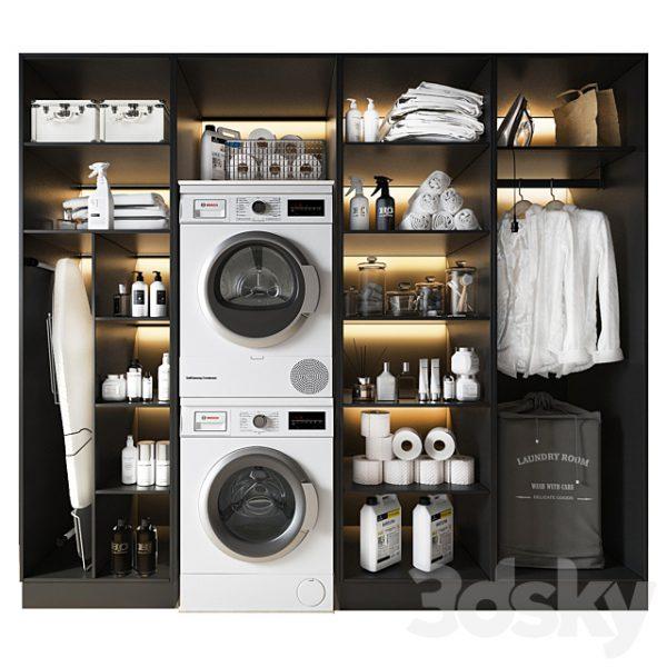 مدل سه بعدی لوازم اتاق لباسشویی و خشکشویی
